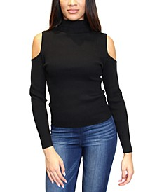 Juniors' Cold-Shoulder Mock-Neck Sweater