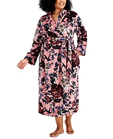 Plus Size Plush Printed Long Wrap Robe, Created for Macy's
