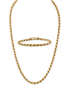 "2-Pc. Set 22"" Rope Link Chain Necklace & Matching Bracelet in 14k Gold-Plated Sterling Silver, Created for Macy's"