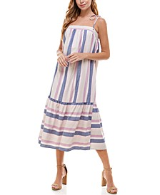 Juniors' Striped Flounce Midi Dress