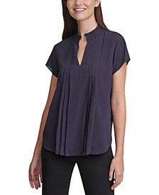 Pleated Short-Sleeve V-Neck Top