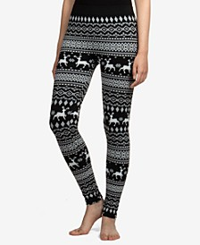Juniors' Reindeer Patterned Fleece-Lined Leggings