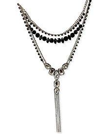 "Silver-Tone Multi-Crystal Chain Fringe Layered Lariat Necklace, 18"" + 3"" extender, Created for Macy's"