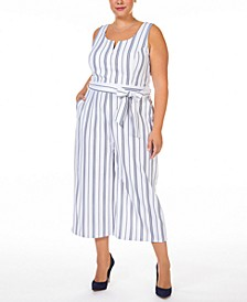 Plus Size Printed Textured Knit Jumpsuit