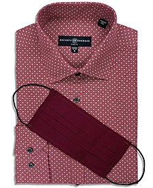 Men's Slim-Fit Non-Iron Performance Stretch Medallion Dot-Print Dress Shirt with Pleated Face Mask