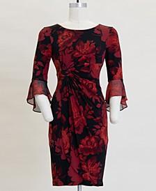 3/4-Flounce-Sleeve Sheath Dress