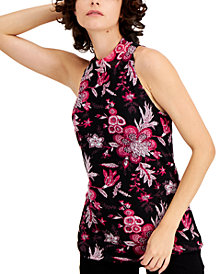 INC Mock-Neck Printed Halter Top, Created for Macy's
