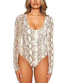 Come Around Printed Long-Sleeve Bodysuit