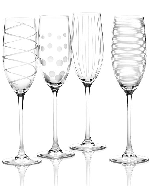 """Mikasa """"Clear Cheers"""" Flutes, Set Of 4"""