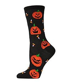 Women's Pumpkin and Candy Halloween Crew Socks