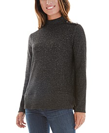 Juniors' Button-Shoulder Fuzzy Sweater