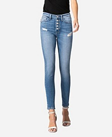 Women's High Rise Button Up Skinny Crop Jeans