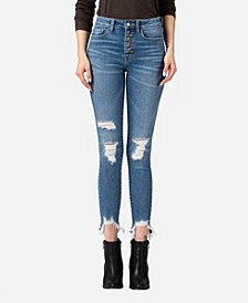 Women's High Rise Button Up Fray Sharkbite Hem Skinny Crop Jeans