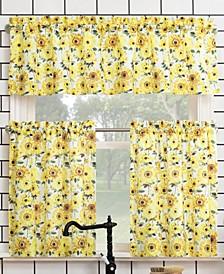 "Sunny Sunflower Print Semi-Sheer Rod Pocket Kitchen Curtain Valance and Tiers Set, 54"" x 36"""
