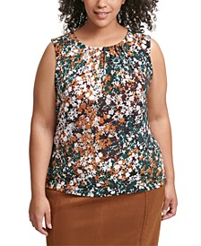 Plus Size Printed Pleated Top