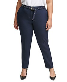 Plus Size Hardware-Embellished Belted Pants