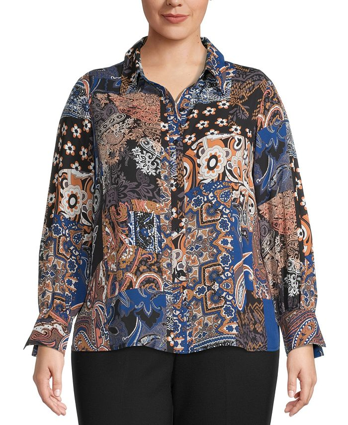 Bar III - Plus Size Printed Button-Front Top