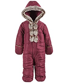 Baby Girls Faux-Fur Bow Snowsuit, Created for Macy's