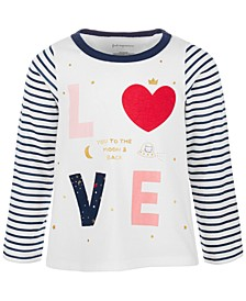 Baby Girls LOVE Striped Long-Sleeve Cotton Top, Created for Macy's