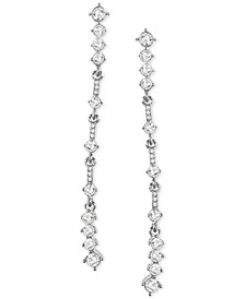 INC Silver-Tone Crystal Linear Earrings, Created for Macy's