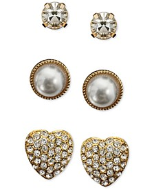 INC Gold-Tone 3-Pc. Set Crystal & Imitation Pearl Heart Stud Earrings, Created for Macy's