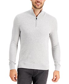 Men's Regular-Fit Textured Stitch 1/4-Zip Sweater, Created for Macy's
