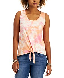 Petite Tie-Dyed Henley Top, Created for Macy's