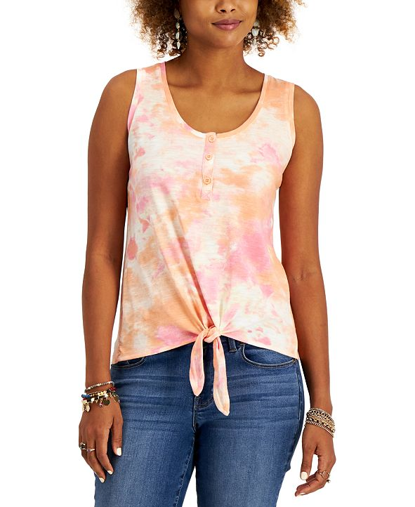 Style & Co Petite Tie-Dyed Henley Top, Created for Macy's
