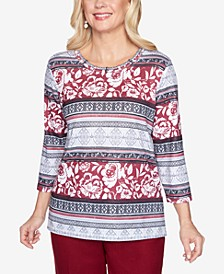 Women's Plus Size Madison Avenue Geo-Floral Biadere Top