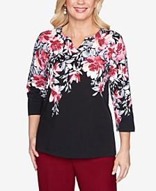 Women's Plus Size Madison Avenue Floral Yoke Top