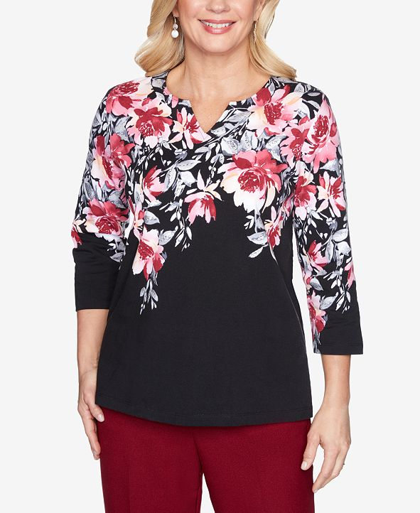 Alfred Dunner Women's Plus Size Madison Avenue Floral Yoke Top