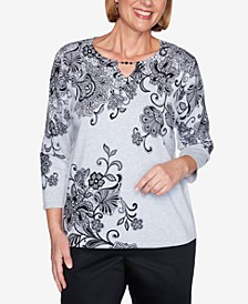 Women's Plus Size Madison Avenue Scroll Lace Floral Sweater