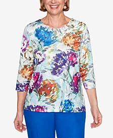 Women's Plus Size Classics Watercolor Floral Top