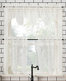 """Alison Floral Lace Rod Pocket Kitchen Curtain Valance And Tiers Set, 58"""" x 36"""""""