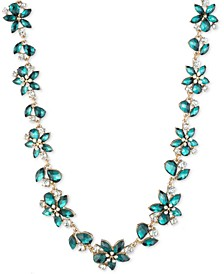"""Gold-Tone Green Flower Stone Frontal Necklace, 16"""" + 3"""" extender"""
