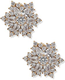 Crystal Starburst Button Clip-On Earrings