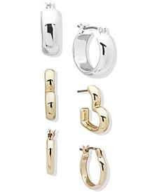 Two-Tone 3-Pc. Set Huggie Hoop Earrings