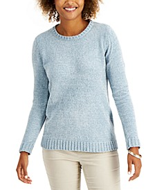 Petite Solid Chenille Crewneck Sweater, Created for Macy's