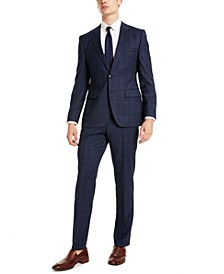 HUGO Men's Classic-Fit Blue Plaid Suit Separates