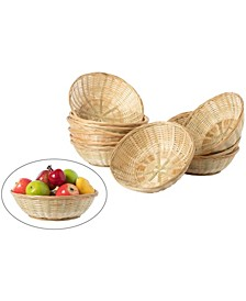 Set of 12 Large Round Bamboo Serving Wicker Bread Roll Baskets Display Tray