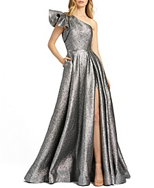One-Shoulder Metallic Ball Gown
