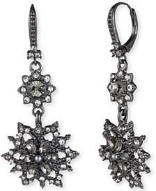 Hematite-Tone Crystal & Imitation Pearl Cluster Double Drop Earrings