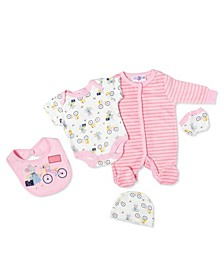 Baby Girls Mouse 5 Piece Velour Layette Gift Set