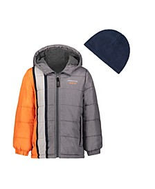 Toddler Boys Hooded Bubble Jacket with Hat Set