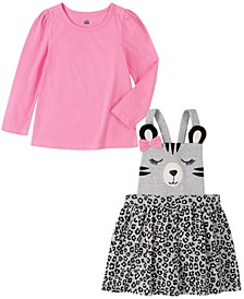 2 Piece Toddler Girls Long Sleeve T-shirt with Cat Face and Plaid Jumper Set