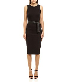 Women's Faux Leather Midi Dress with Sash