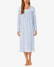 Long-Sleeve Knit Cotton Ballet Nightgown