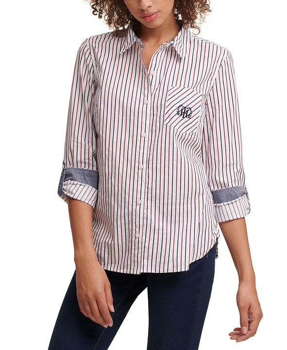 Tommy Hilfiger Cotton Roll Tab Sleeve Blouse