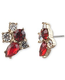 Crystal Stone Cluster Button Earrings