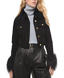 Faux-Fur-Trimmed Button-Front Denim Jacket